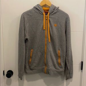 DC gray and Orange Zip up hoodie Size small